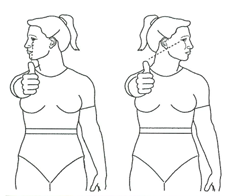 Vestib with eye dynamic head side/side exercise illustration