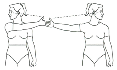 Vestib with eye out phase side/side exercise illustration