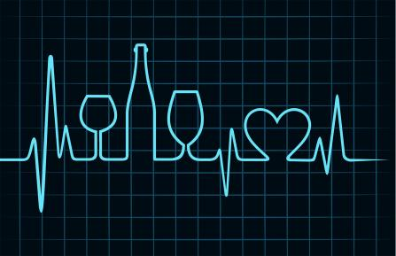 graphic of heart rhythm with wine glass and bottle