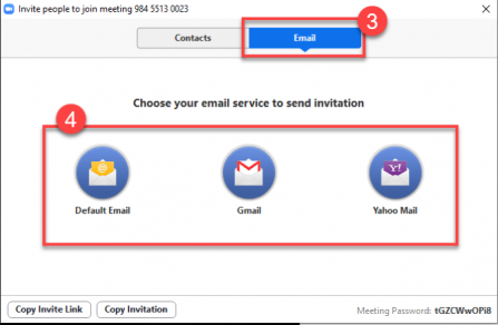 Select which email option you would like to use to send the invitation